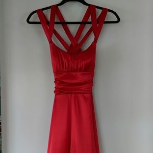 Red Cross-Back Ball Gown